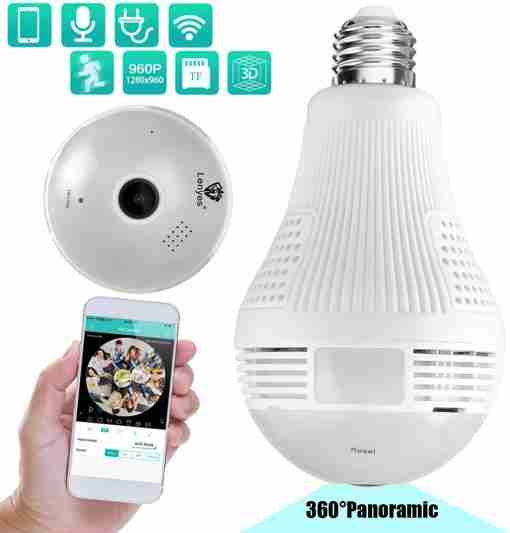 Wifi Bulb Camera Wireless CCTV 360 Panoramic View 1.3MP 960P Two Way Audio / With Light