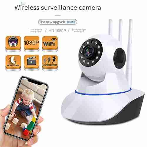 Wifi Wireless CCTV Indoor 360 Rotatable Camera 3 Antenna PTZ AUDIO / VIDEO 2MP