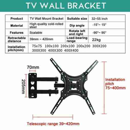 TV Wall Mount Bracket 32-55 Inch LED LCD Full Motion TV Bracket Wall Mount Fully Adjustable Rotatable Stand 32 40 42 43 50 55 inch