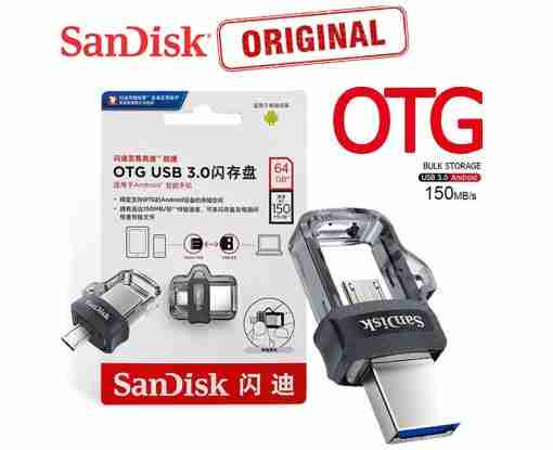 64GB SanDisk Ultra Dual USB 3.0 OTG Pen Drive / Micro USB / OTG Pendrive